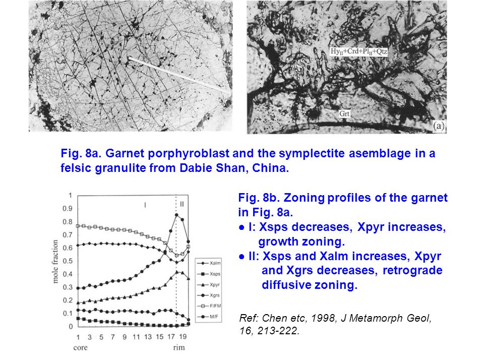Ref: Chen etc, 1998, J Metamorph Geol, 16, 213-222. Fig. 8a. Garnet porphyroblast and the symplectite asemblage in a felsic granulite from Dabie Shan,