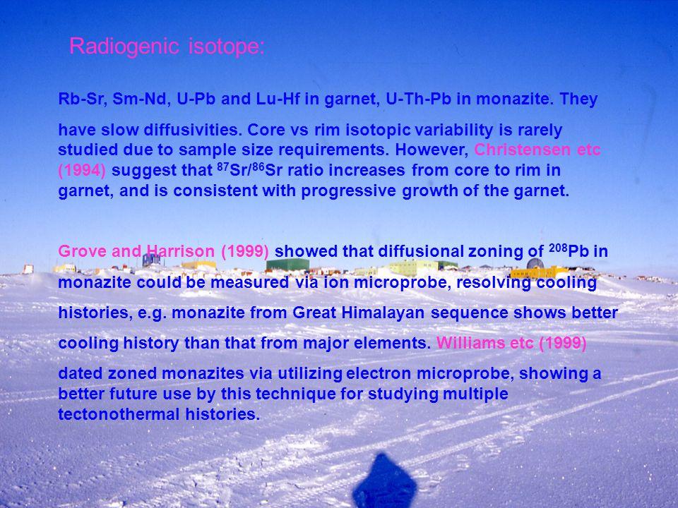 Radiogenic isotope: Rb-Sr, Sm-Nd, U-Pb and Lu-Hf in garnet, U-Th-Pb in monazite.