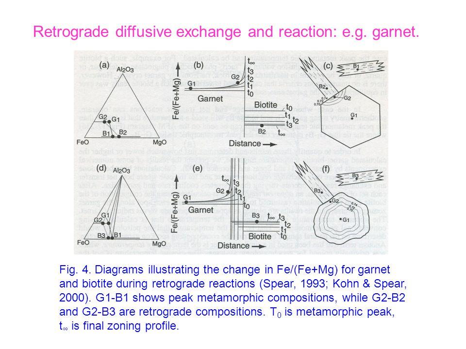 Fig. 4. Diagrams illustrating the change in Fe/(Fe+Mg) for garnet and biotite during retrograde reactions (Spear, 1993; Kohn & Spear, 2000). G1-B1 sho