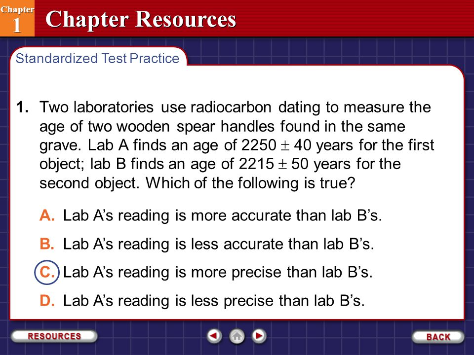 Chapter Resources Chapter 1 Chapter 1 1.Two laboratories use radiocarbon dating to measure the age of two wooden spear handles found in the same grave