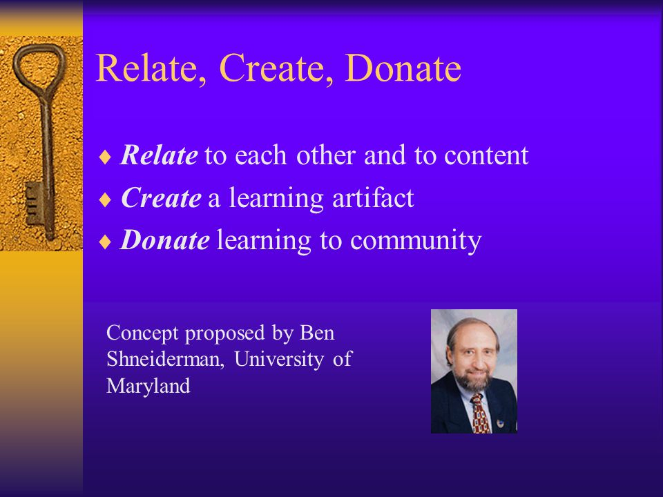 Relate, Create, Donate  Relate to each other and to content  Create a learning artifact  Donate learning to community Concept proposed by Ben Shneiderman, University of Maryland