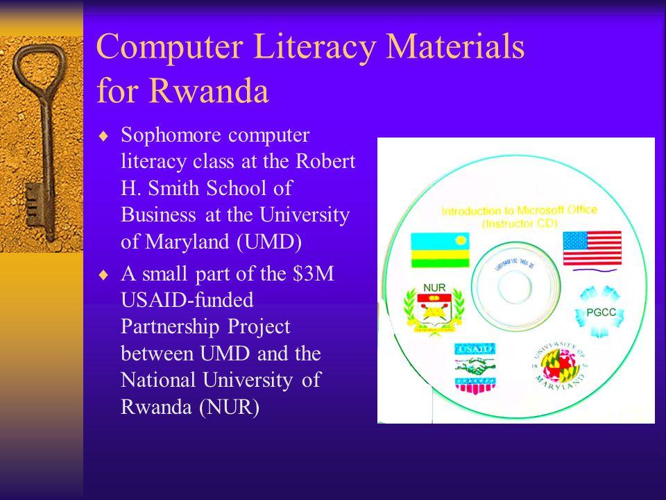 Computer Literacy Materials for Rwanda  Sophomore computer literacy class at the Robert H.