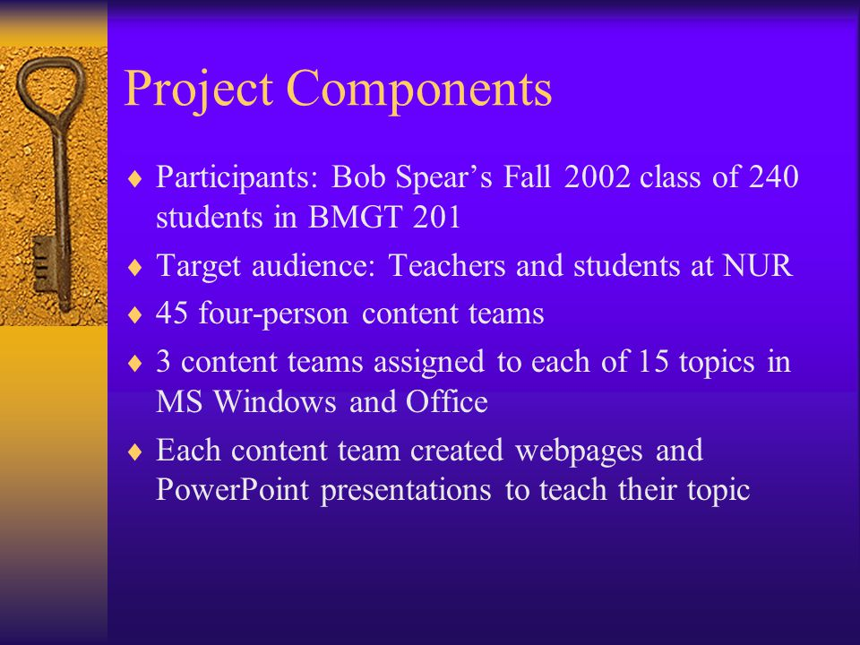 Project Components  Participants: Bob Spear's Fall 2002 class of 240 students in BMGT 201  Target audience: Teachers and students at NUR  45 four-person content teams  3 content teams assigned to each of 15 topics in MS Windows and Office  Each content team created webpages and PowerPoint presentations to teach their topic