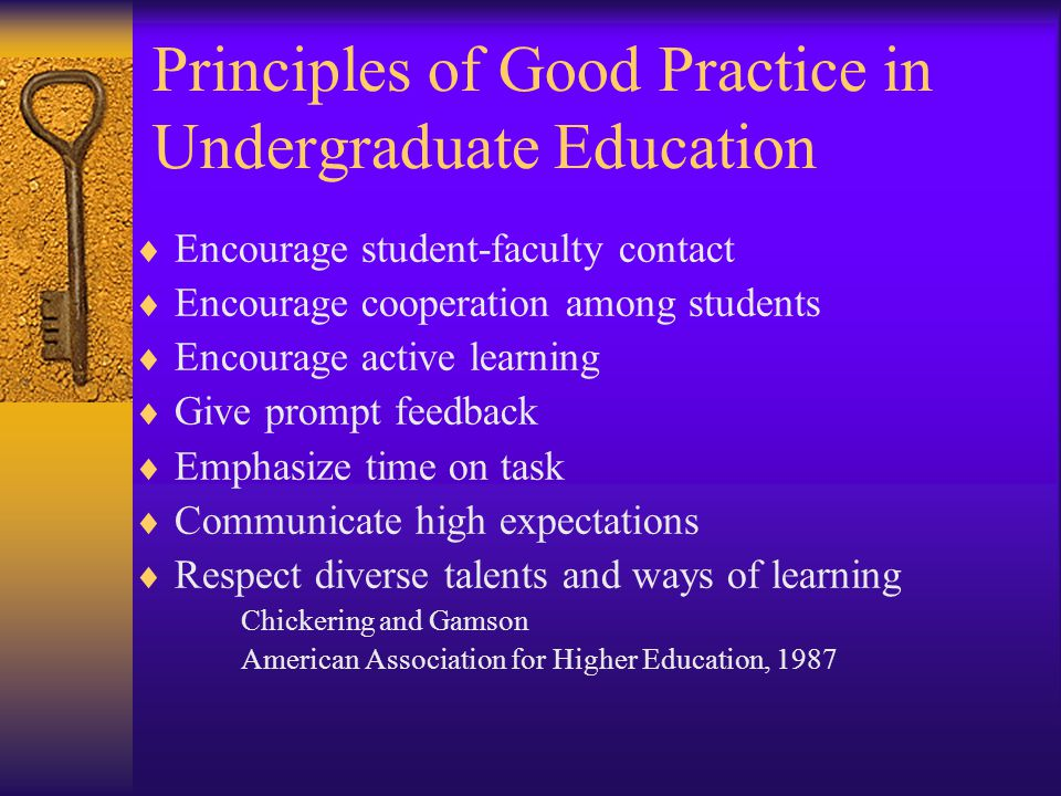Principles of Good Practice in Undergraduate Education  Encourage student-faculty contact  Encourage cooperation among students  Encourage active learning  Give prompt feedback  Emphasize time on task  Communicate high expectations  Respect diverse talents and ways of learning Chickering and Gamson American Association for Higher Education, 1987