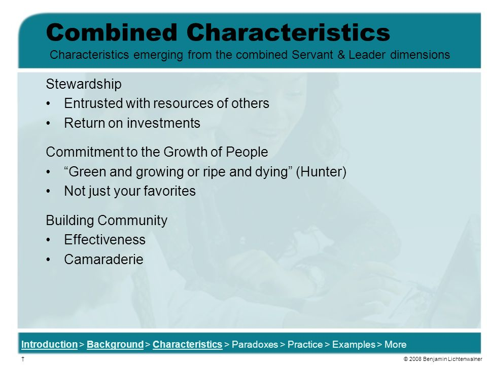 Combined Characteristics Stewardship Entrusted with resources of others Return on investments Commitment to the Growth of People Green and growing or ripe and dying (Hunter) Not just your favorites Building Community Effectiveness Camaraderie Characteristics emerging from the combined Servant & Leader dimensions Introduction > Background > Characteristics > Paradoxes > Practice > Examples > More † © 2008 Benjamin Lichtenwalner