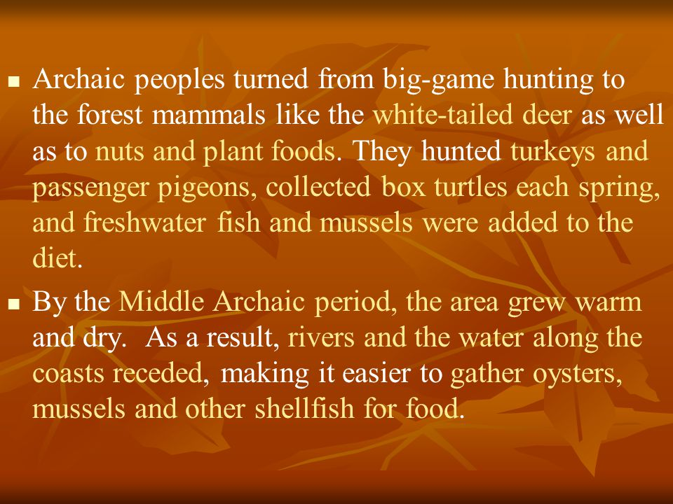 Archaic peoples turned from big-game hunting to the forest mammals like the white-tailed deer as well as to nuts and plant foods.