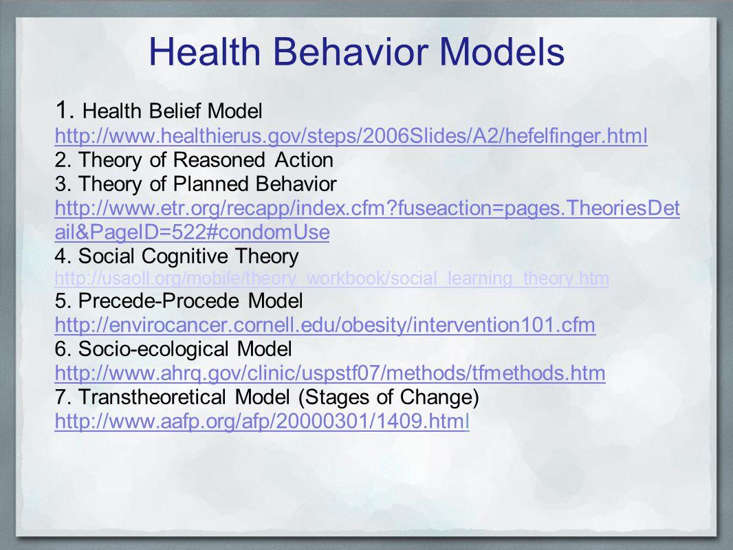 Health Behavior Models 1.