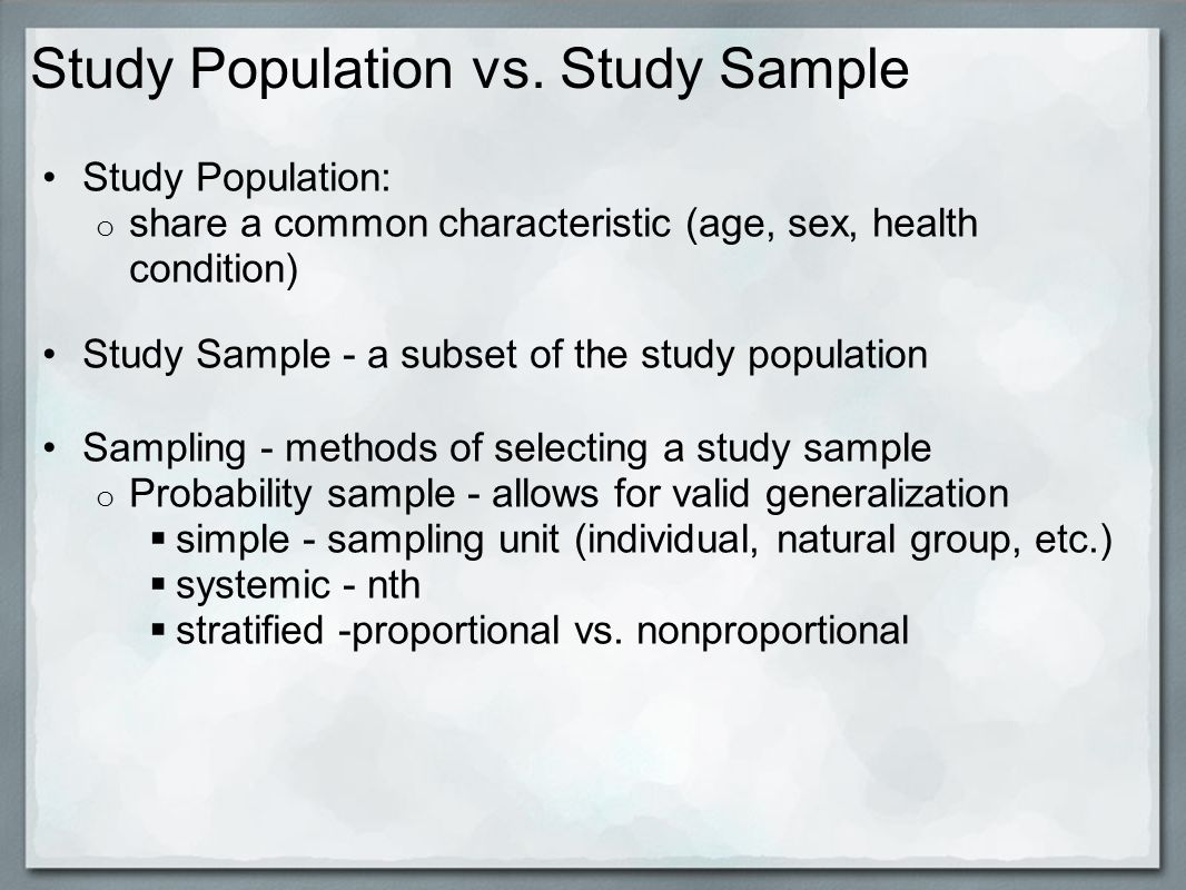 Study Population vs.