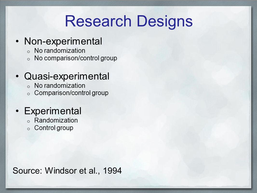 Research Designs Non-experimental o No randomization o No comparison/control group Quasi-experimental o No randomization o Comparison/control group Experimental o Randomization o Control group Source: Windsor et al., 1994