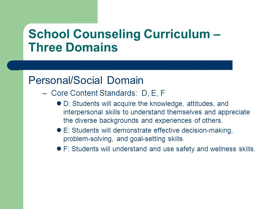 School Counseling Curriculum – Three Domains Personal/Social Domain –Core Content Standards: D, E, F D: Students will acquire the knowledge, attitudes