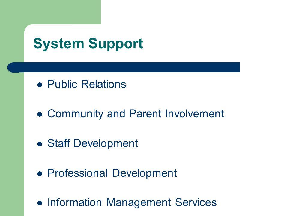System Support Public Relations Community and Parent Involvement Staff Development Professional Development Information Management Services