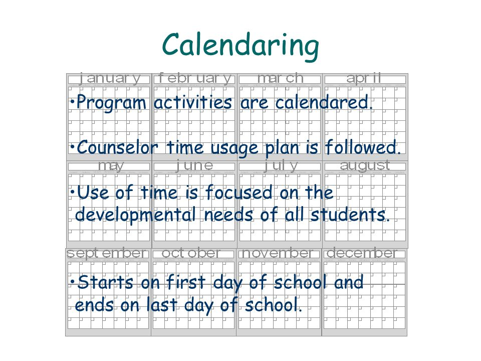 Calendaring Program activities are calendared. Counselor time usage plan is followed. Use of time is focused on the developmental needs of all student