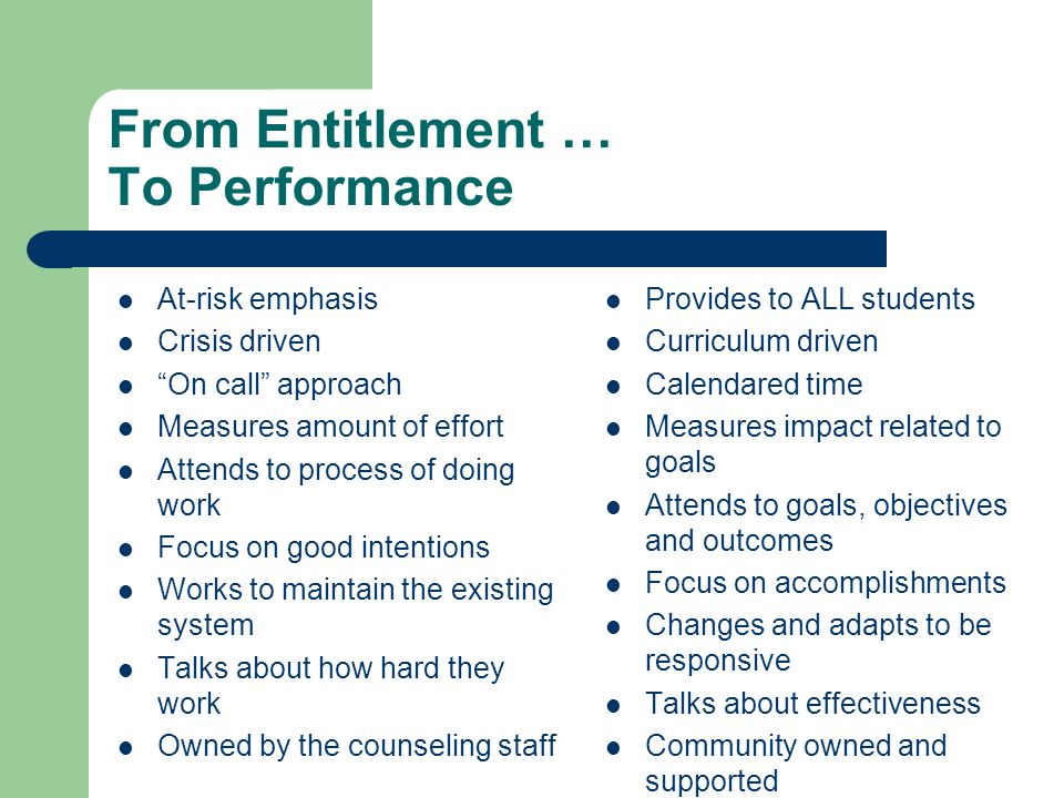 """From Entitlement … To Performance At-risk emphasis Crisis driven """"On call"""" approach Measures amount of effort Attends to process of doing work Focus o"""