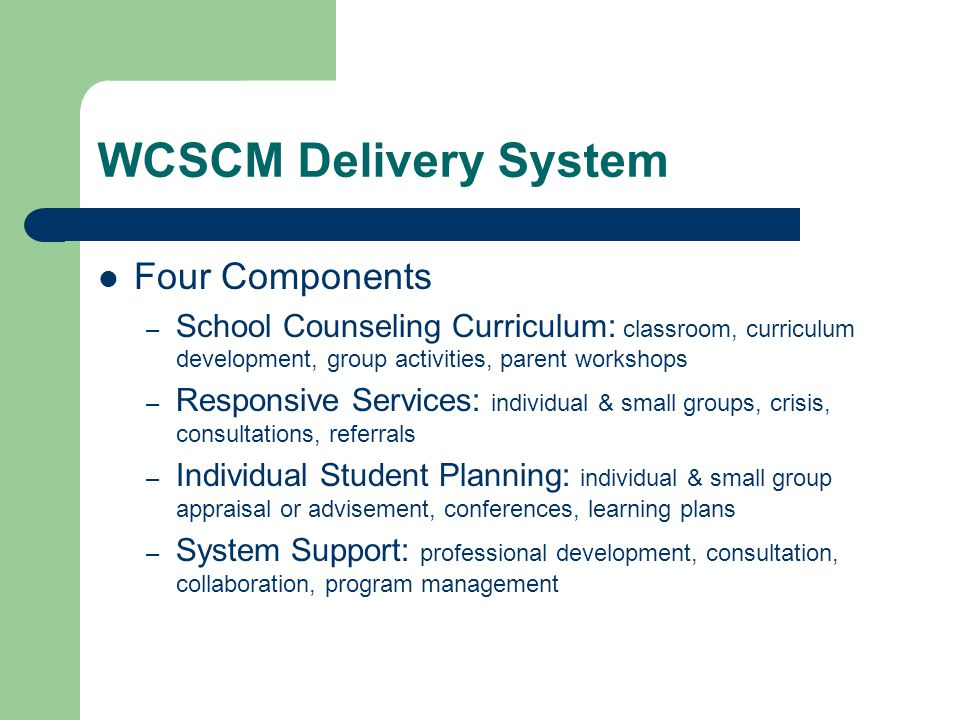 WCSCM Delivery System Four Components – School Counseling Curriculum: classroom, curriculum development, group activities, parent workshops – Responsi