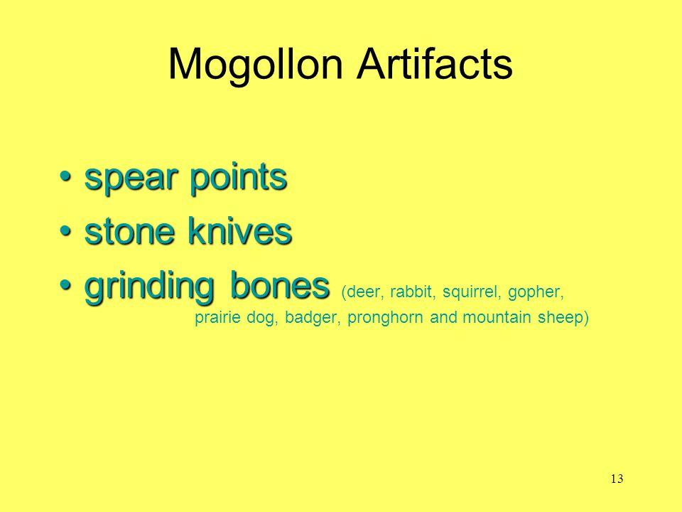 Mogollon Artifacts spear pointsspear points stone knivesstone knives grinding bonesgrinding bones (deer, rabbit, squirrel, gopher, prairie dog, badger