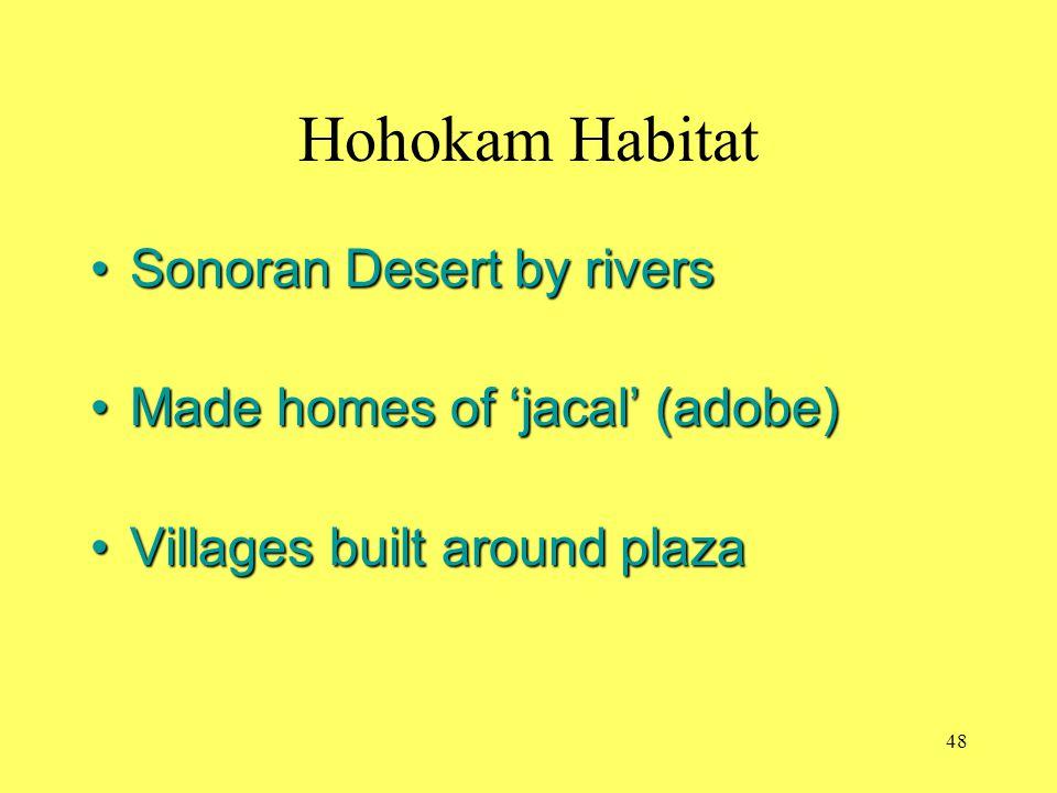 Hohokam Habitat Sonoran Desert by riversSonoran Desert by rivers Made homes of 'jacal' (adobe)Made homes of 'jacal' (adobe) Villages built around plaz