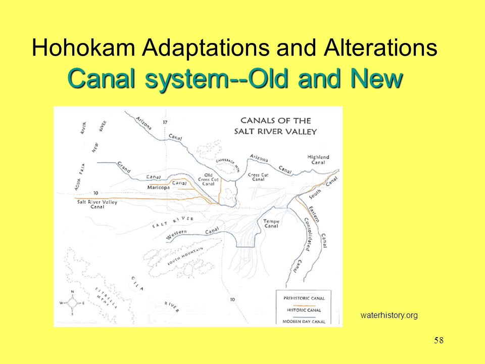 Canal system--Old and New Hohokam Adaptations and Alterations Canal system--Old and New waterhistory.org 58