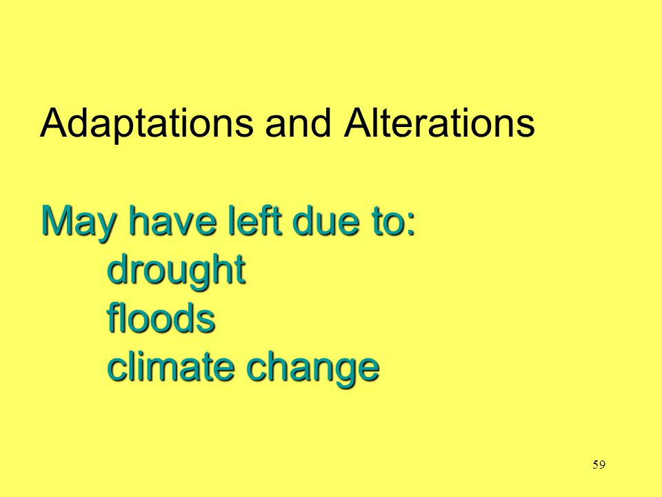 May have left due to: drought floods climate change Adaptations and Alterations May have left due to: drought floods climate change 59