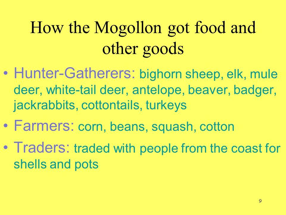 How the Mogollon got food and other goods Hunter-Gatherers: bighorn sheep, elk, mule deer, white-tail deer, antelope, beaver, badger, jackrabbits, cot