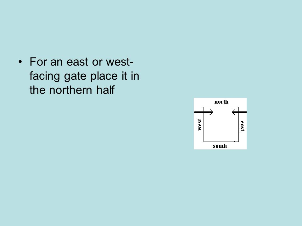 For an east or west- facing gate place it in the northern half