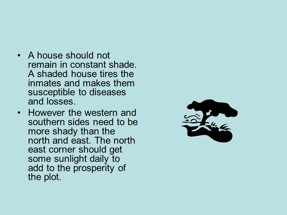 A house should not remain in constant shade.