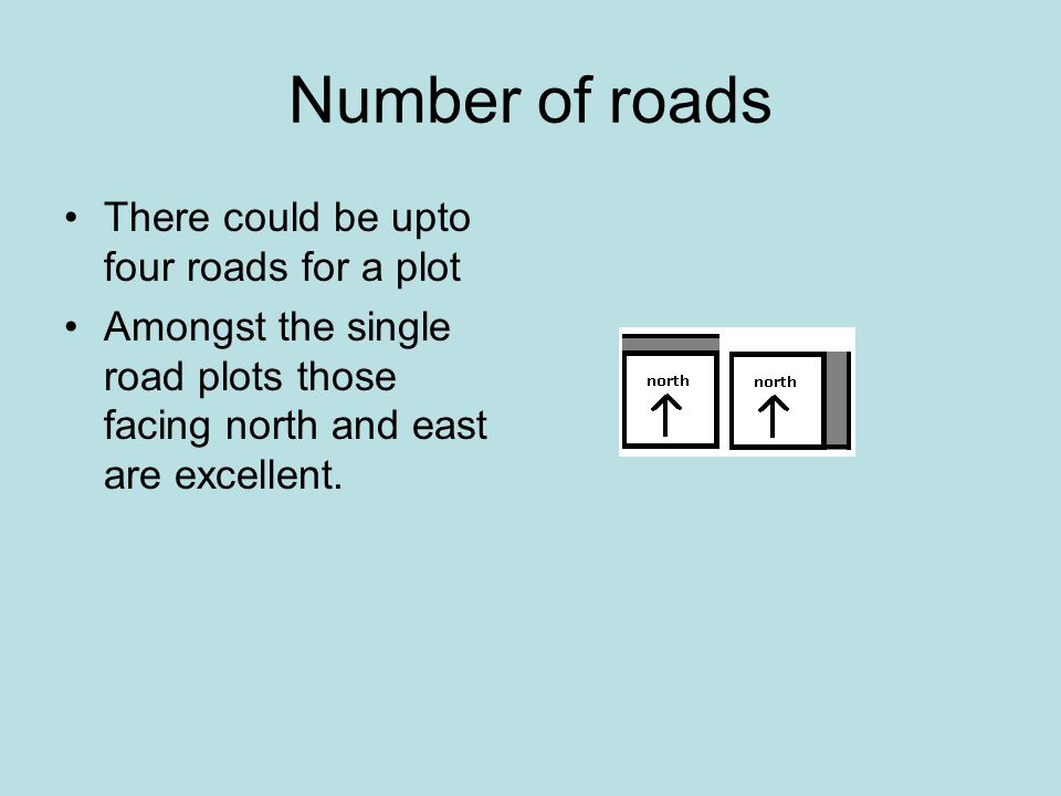 Number of roads There could be upto four roads for a plot Amongst the single road plots those facing north and east are excellent.