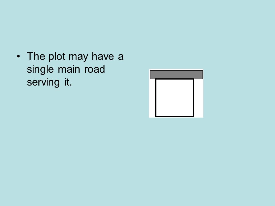 The plot may have a single main road serving it.