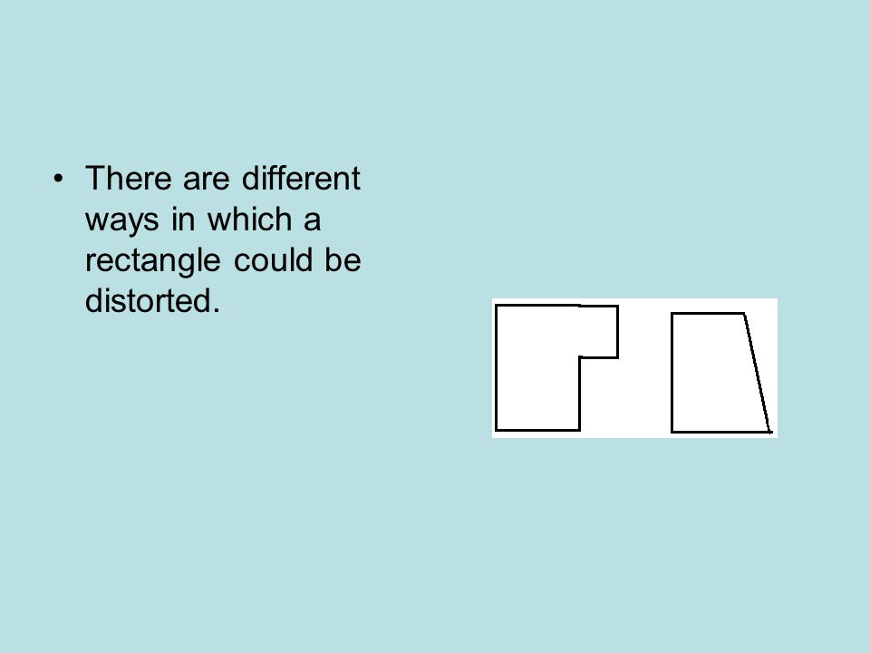 There are different ways in which a rectangle could be distorted.