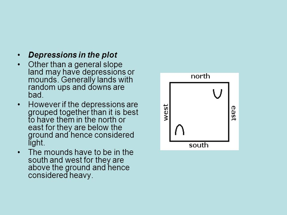 Depressions in the plot Other than a general slope land may have depressions or mounds.