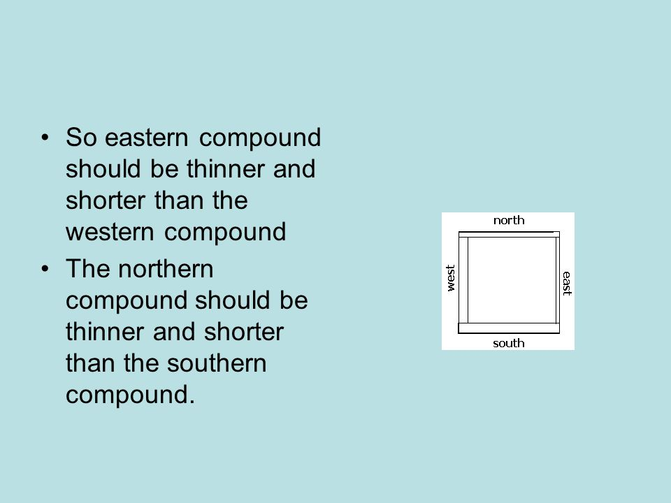 So eastern compound should be thinner and shorter than the western compound The northern compound should be thinner and shorter than the southern compound.