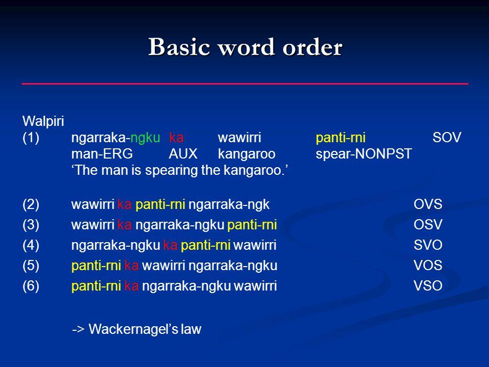 Basic word order Walpiri (1)ngarraka-ngkukawawirripanti-rni SOV man-ERGAUXkangaroospear-NONPST 'The man is spearing the kangaroo.' (2)wawirri ka panti-rni ngarraka-ngkOVS (3)wawirri ka ngarraka-ngku panti-rniOSV (4)ngarraka-ngku ka panti-rni wawirriSVO (5)panti-rni ka wawirri ngarraka-ngku VOS (6)panti-rni ka ngarraka-ngku wawirriVSO -> Wackernagel's law