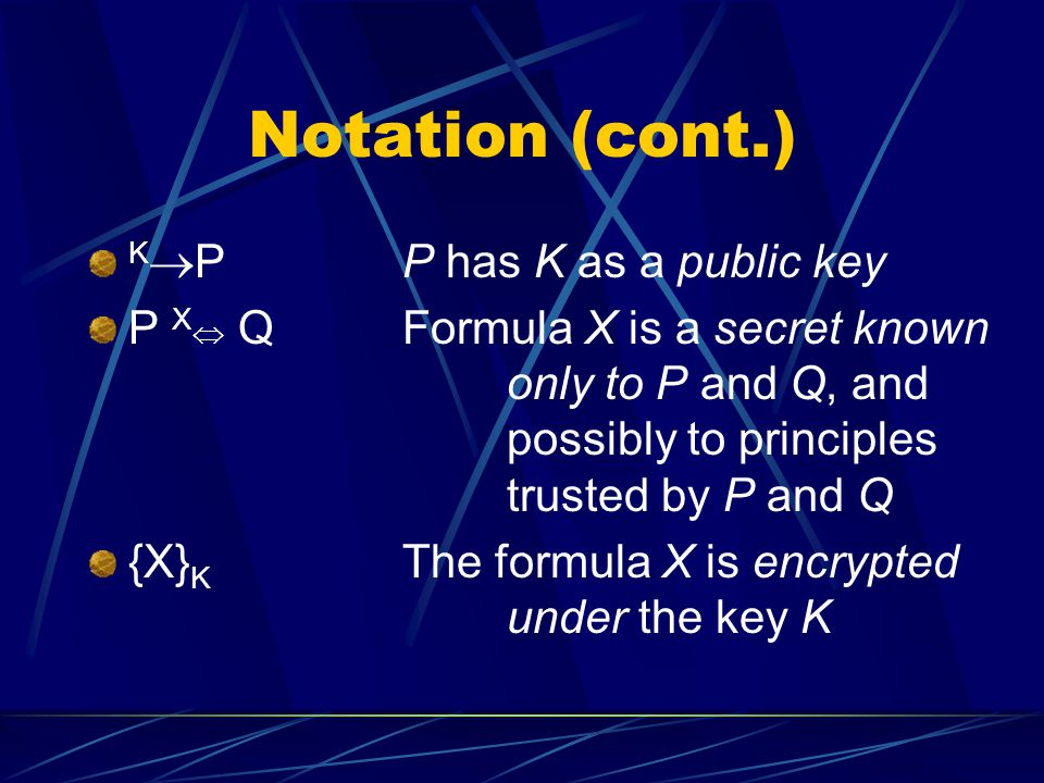 Notation (cont.) K  PP has K as a public key P X  Q Formula X is a secret known only to P and Q, and possibly to principles trusted by P and Q {X} K The formula X is encrypted under the key K