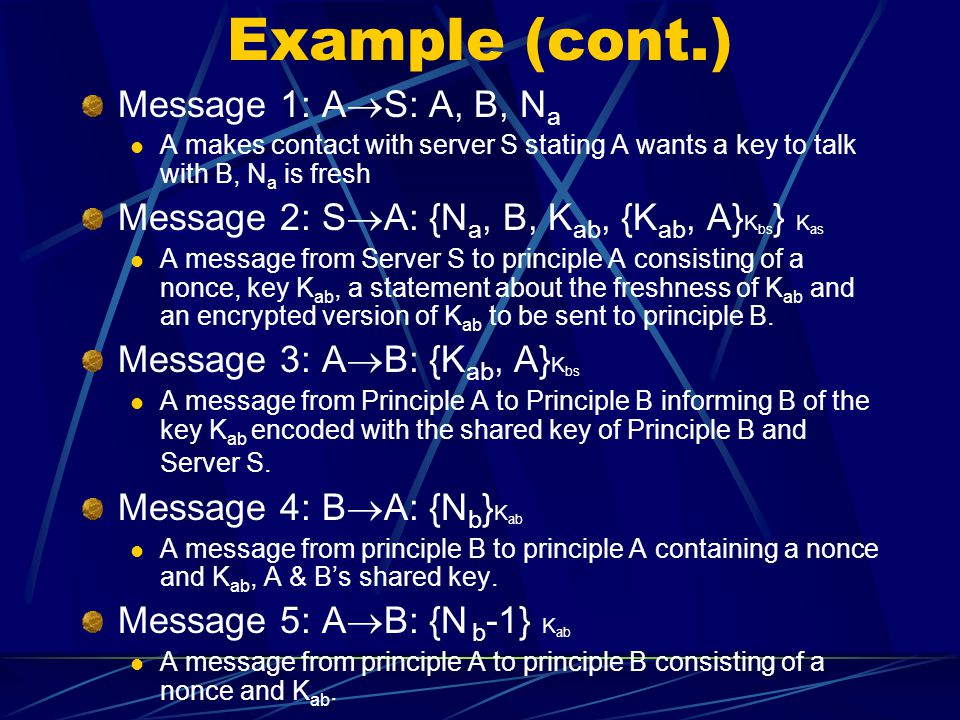 Example (cont.) Message 1: A  S: A, B, N a A makes contact with server S stating A wants a key to talk with B, N a is fresh Message 2: S  A: {N a, B, K ab, {K ab, A} K bs } K as A message from Server S to principle A consisting of a nonce, key K ab, a statement about the freshness of K ab and an encrypted version of K ab to be sent to principle B.