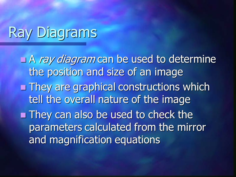 Ray Diagrams A ray diagram can be used to determine the position and size of an image A ray diagram can be used to determine the position and size of
