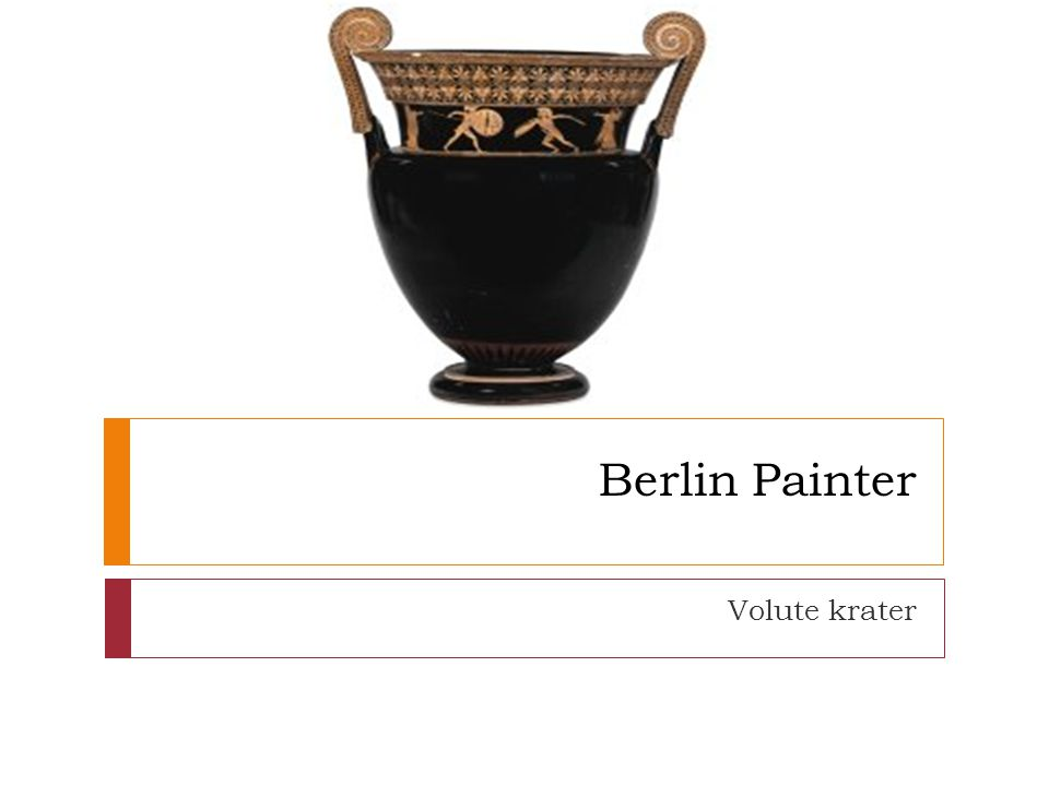 Basic facts  Vase shape:volute krater  Function:mixing wine & water  Potter:unknown  Painter:Berlin Painter  Date:500-480 BC  Height:65cm