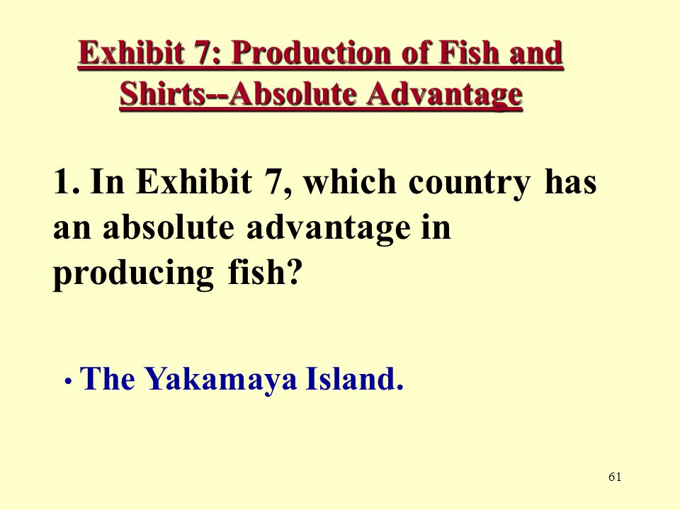 61 Exhibit 7: Production of Fish and Shirts--Absolute Advantage 1.