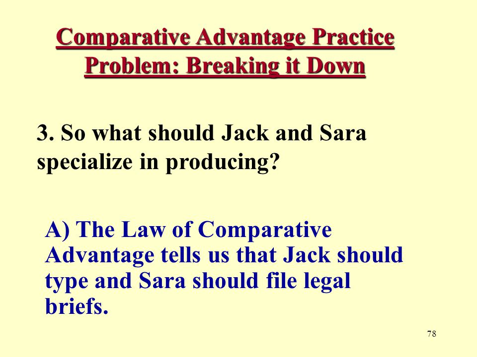 78 Comparative Advantage Practice Problem: Breaking it Down 3.