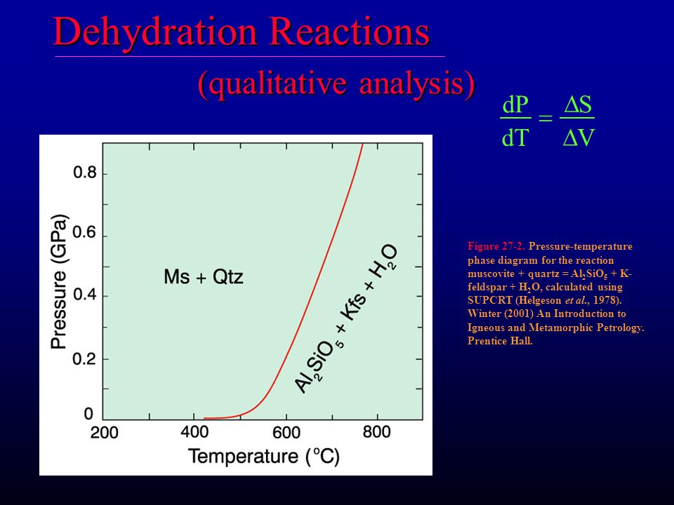 Dehydration Reactions (qualitative analysis) dP dT S V    Figure 27-2.