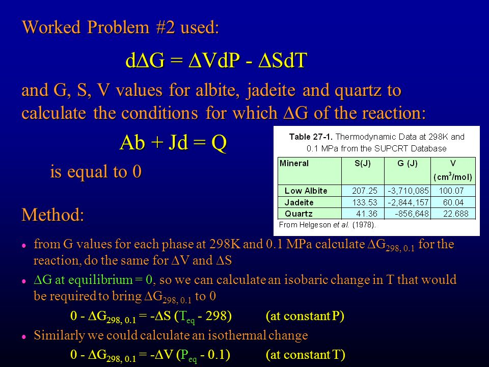 Worked Problem #2 used: d  G =  VdP -  SdT d  G =  VdP -  SdT and G, S, V values for albite, jadeite and quartz to calculate the conditions for which  G of the reaction: Ab + Jd = Q is equal to 0 is equal to 0 from G values for each phase at 298K and 0.1 MPa calculate  G 298, 0.1 for the reaction, do the same for  V and  S from G values for each phase at 298K and 0.1 MPa calculate  G 298, 0.1 for the reaction, do the same for  V and  S  G at equilibrium = 0, so we can calculate an isobaric change in T that would be required to bring  G 298, 0.1 to 0  G at equilibrium = 0, so we can calculate an isobaric change in T that would be required to bring  G 298, 0.1 to 0 0 -  G 298, 0.1 = -  S (T eq - 298)(at constant P) l Similarly we could calculate an isothermal change 0 -  G 298, 0.1 = -  V (P eq - 0.1)(at constant T) Method: