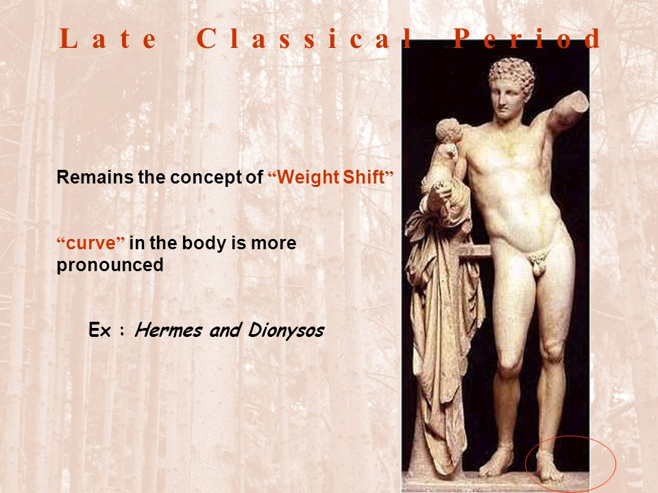 Late Classical Period female figure was depicted completely naked Ex: The Aphrodite of Knidos point: 1.