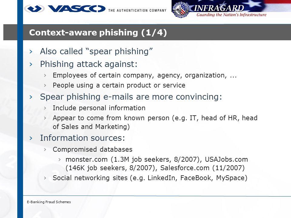 E-Banking Fraud Schemes Context-aware phishing (2/4)