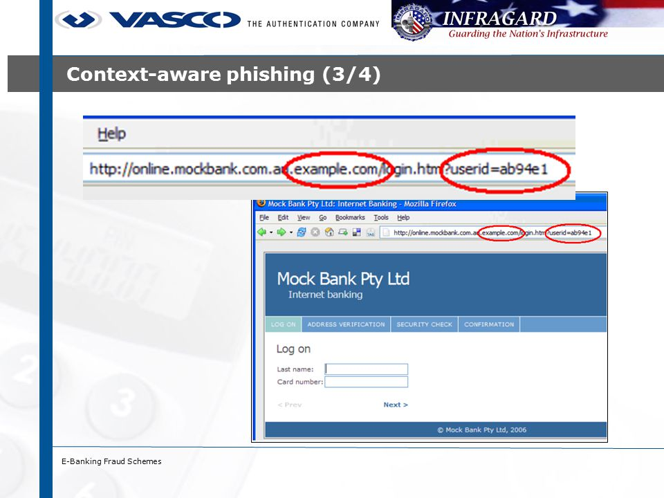 Alternative channels (1/2) - vishing ›Voice (phone) phishing ›Two types: 1.Fraudster calls end-user and asks for credentials 2.End-user is tricked to call fraudster (via e-mail, voice mail) ›Strengths: ›Telephone systems have longer record of trust ›A greater percentage of people can be reached (e.g.