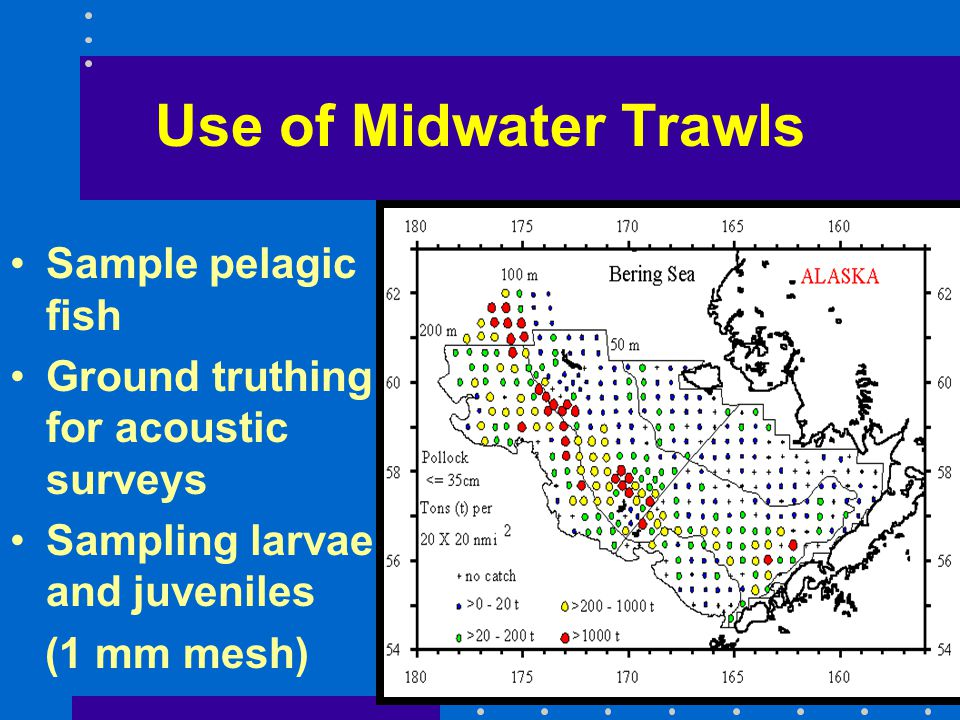 Use of Midwater Trawls Sample pelagic fish Ground truthing for acoustic surveys Sampling larvae and juveniles (1 mm mesh)