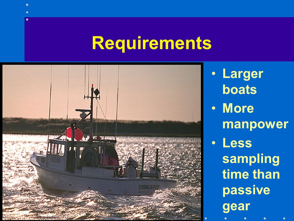 Examples of Sampling Programs Great Lakes Fisheries Survey - Great Lakes Laboratory –Bottom & midwater trawls & acoustic surveys –5 - 150 m depth –seasonal variation