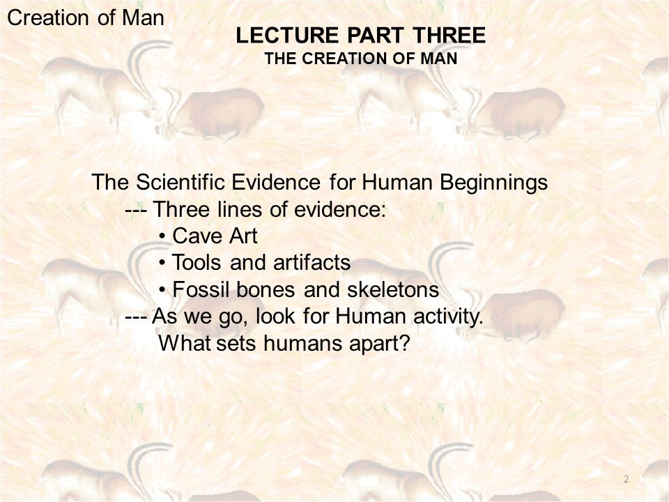 LECTURE PART THREE THE CREATION OF MAN Creation of Man The Scientific Evidence for Human Beginnings --- Three lines of evidence: Cave Art Tools and artifacts Fossil bones and skeletons --- As we go, look for Human activity.