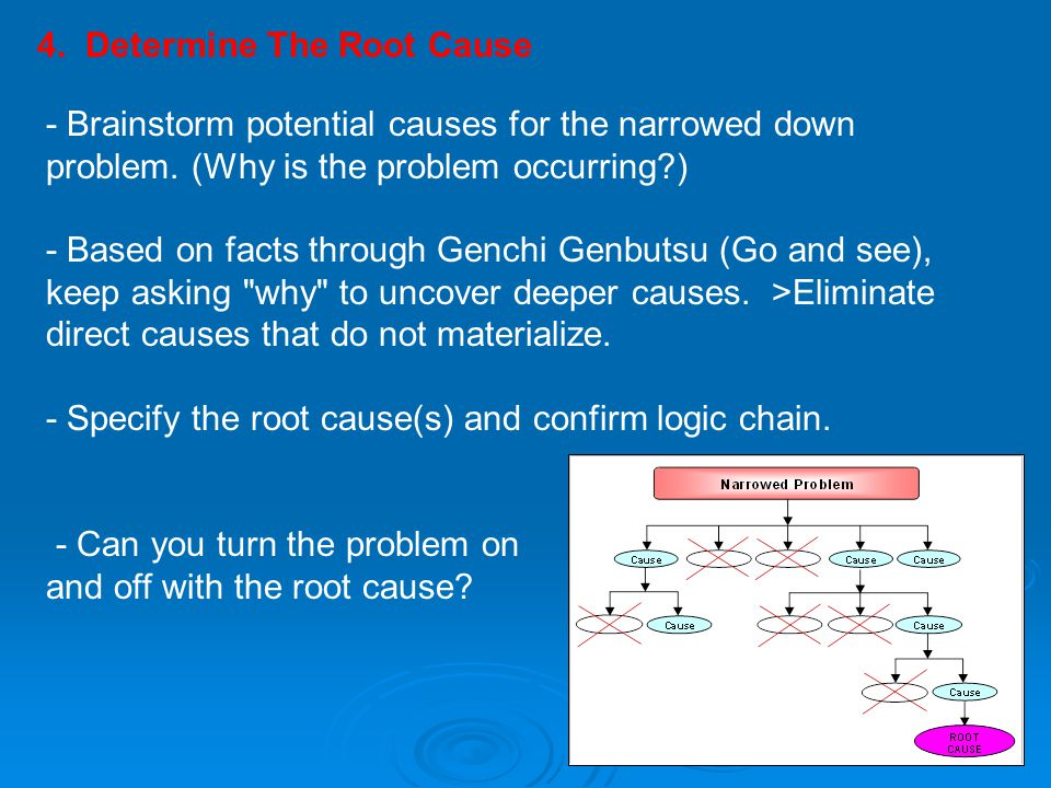 4. Determine The Root Cause - Brainstorm potential causes for the narrowed down problem. (Why is the problem occurring?) - Based on facts through Genc