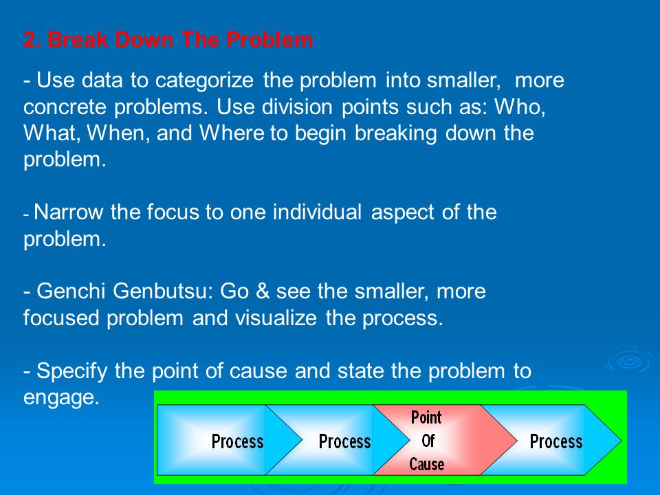 2. Break Down The Problem - Use data to categorize the problem into smaller, more concrete problems. Use division points such as: Who, What, When, and