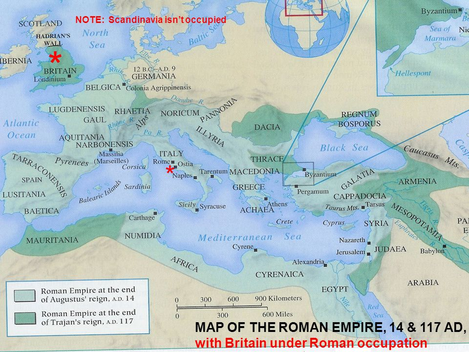 MAP OF THE ROMAN EMPIRE, 14 & 117 AD MAP OF THE ROMAN EMPIRE, 14 & 117 AD, with Britain under Roman occupation * * NOTE: Scandinavia isn't occupied