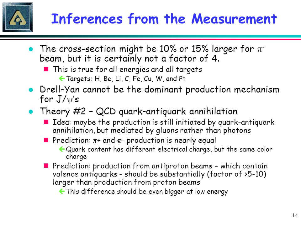 14 Inferences from the Measurement The cross-section might be 10% or 15% larger for  - beam, but it is certainly not a factor of 4. nThis is true for