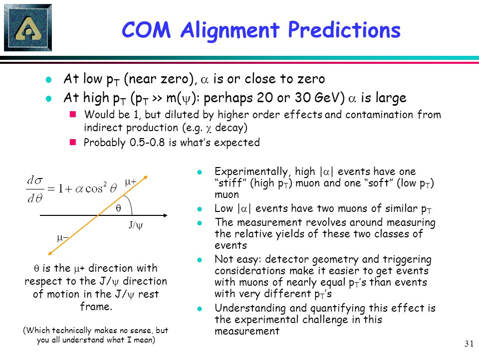 31 COM Alignment Predictions At low p T (near zero),  is or close to zero At high p T (p T >> m(  ): perhaps 20 or 30 GeV)  is large Would be 1, bu